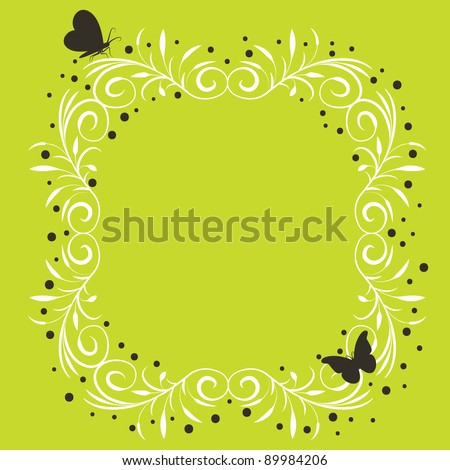bright green frame with butterflies and copy space