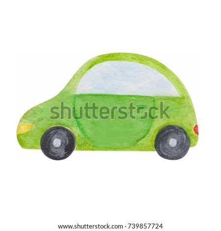 Bright green hatchback car watercolor brush paint imitation, kids drawing naive style, single isolated object on white background, for boys and girls print theme.