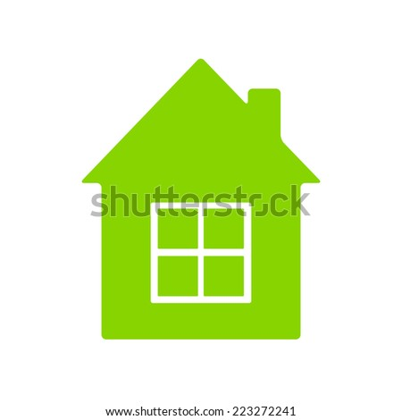 Bright Green House Bright Green House With Big Window Isolated On White Background New