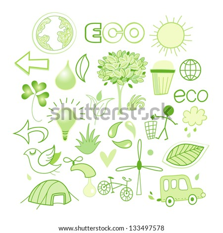 Bright green vector different images of the ecology. elements of Design