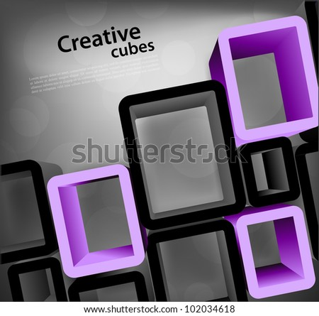 Bright grey background with cubes with circle