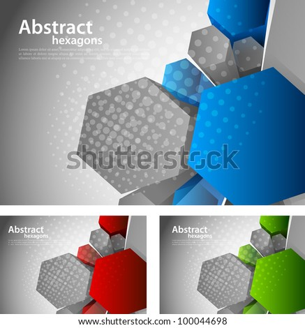 Bright grey background with 3d color hexagon