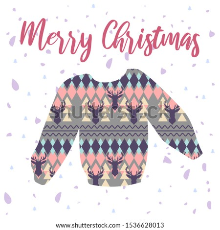 Bright hand drawn holiday vector illustration with Nordic sweater with reindeer and lettering. Perfect for posters, greeting cards, banners, social media, websites, adverts etc.