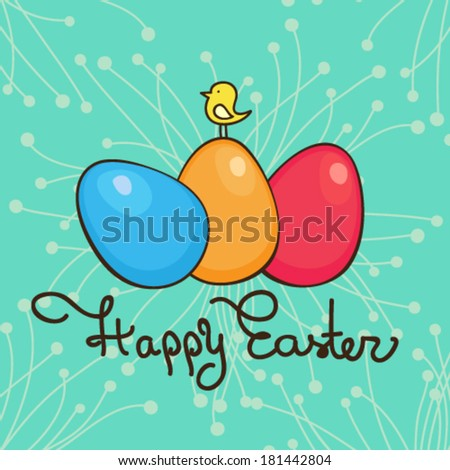 Bright happy easter card in vector. Funny chicken, eggs in cute cartoon style. Stylish holiday background