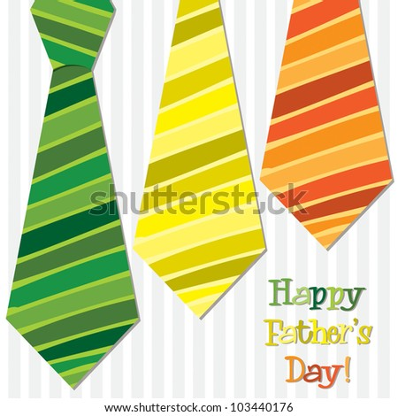 Bright 'Happy Father's Day' neck tie card in vector format.