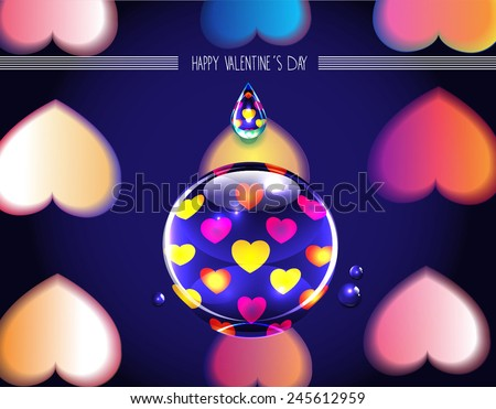 bright Happy Valentine's Day concept with the reflection of hearts in water drop  #245612959