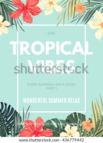Bright hawaiian design with tropical plants and hibiscus flowers, vector illustration