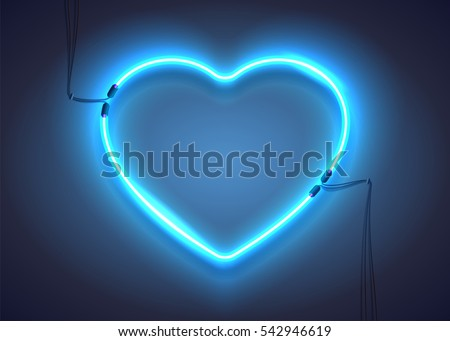 Bright heart. Neon sign. Retro blue neon heart sign on dark background. Design element for Happy Valentine's Day. Ready for your design, greeting card, banner. Vector illustration.