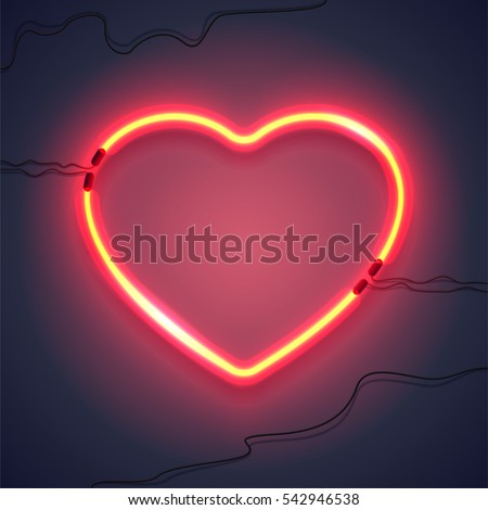 bright heart neon sign retro