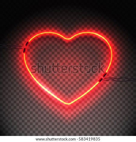 Bright heart. Neon sign. Retro neon heart sign on transparent background. Design element for Happy Valentine's Day. Ready for your design, greeting card, banner. Vector illustration.