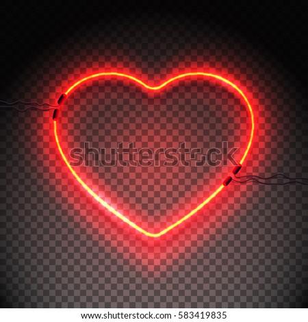 bright heart neon sign retro
