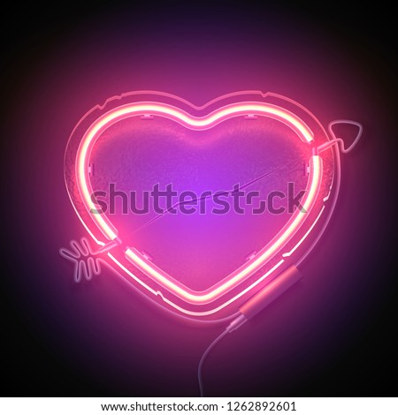 Bright heart. Neon sign. Retro neon heart signboard on purple background. Design element for Happy Valentine's Day. Ready for your design, greeting card. Vector illustration.