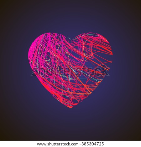 Bright heart with colored lines isolated on dark background. Textured form with geometry elements, polygonal heart shape. Stock vector.