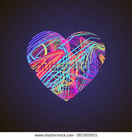 bright heart with colored lines