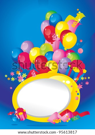 Bright Holiday composition of balloons, gift boxes, confetti, sweets, Streamer and  Frame for your text congratulations