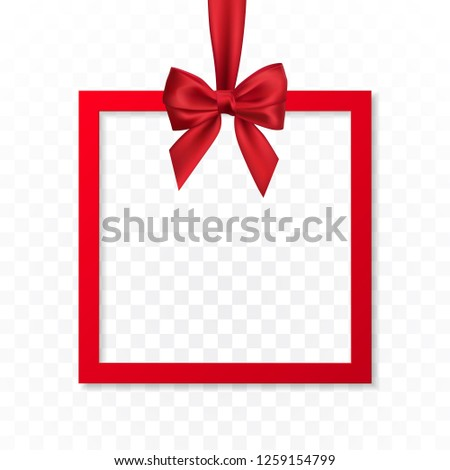 Bright holiday gift box frame banner hanging with red ribbon and silky bow on transparent background. Vector illustration.