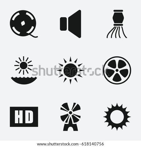 bright icon set of 9 bright