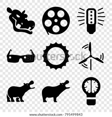 bright icons set of 9 editable