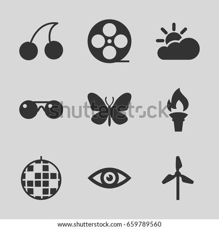 bright icons set set of 9