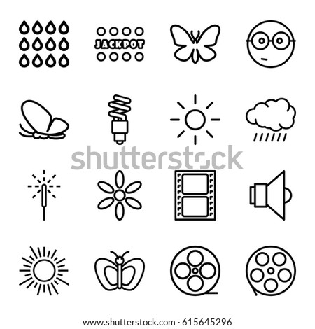 bright icons set set of 16