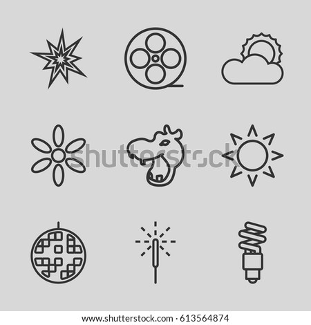 bright icons set set of 9