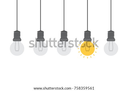 Bright idea and insight concept with light bulb, Isolated on white background, creative idea and leadership concept background, Flat style vector illustration.