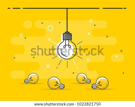 Bright idea and insight concept with light bulb. Trendy flat vector light bulb icons with concept of idea on yellow background.