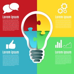 Bright idea, creative conceptual infographic with bulb and four jigsaw puzzle pieces. Vector illustration.