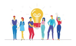 Bright idea - flat design style colorful illustration on white background. A composition with cheerful colleagues in casual clothes holding a big lightbulb. Teamwork concept