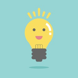 Bright idea like light on. Flat design for business financial marketing banking advertisement office people life property stock fund commercial in minimal concept cartoon illustration.