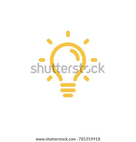 Bright idea symbol, light bulb, bold linear icon