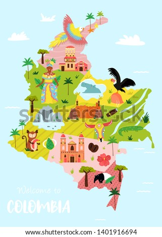 Bright illustrated map of Colombia with symbols, icons, famous destinations, attractions. For travel guides, banners, posters