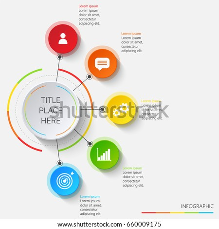 Bright infographics of 5 elements with white icons #660009175