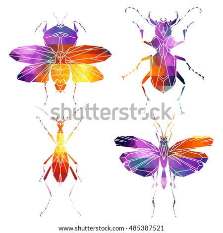 bright insect icons  vector set