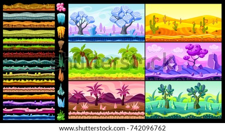 Bright isometric game landscapes set with nature scenes elements surfaces of different materials and textures isolated vector illustration