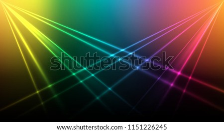 Bright laser background. Colored lights background for nightclub or disco show club scene or poster, vector illustration
