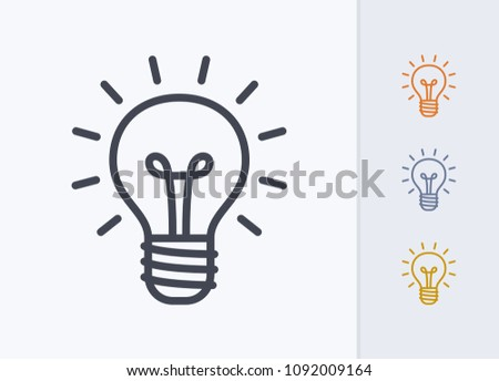 Bright Lightbulb - Pastel Stroke Icons. A professional, pixel-aligned icon.