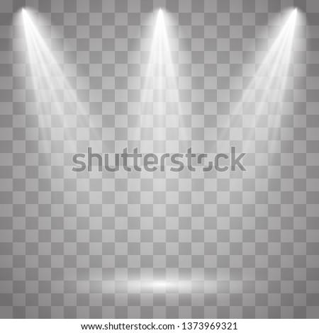 Bright lighting with spotlights.Scene illumination effects on checkered transparent background. Vector illustration EPS10.