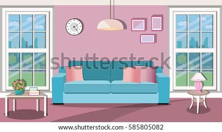 Illustration Of Living Room - Download Free Vector Art, Stock ...