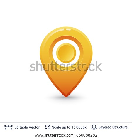 Bright location pin. Vector symbol isolated on white.