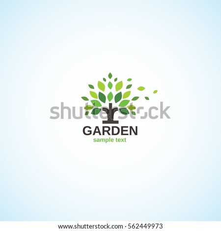 Bright logo on the garden theme.