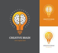 Bright logo with linear brain icon inside a light bulb. Symbol of creative idea, mind, thinking.
