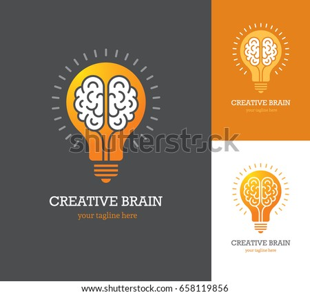 Bright logo with linear brain icon inside a light bulb. Symbol of creative idea, mind, thinking.