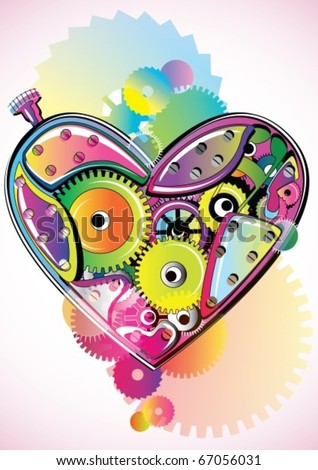 Bright mechanical Valentine heart. Vector