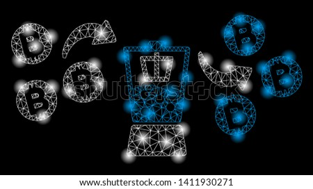 Bright mesh Bitcoin mixer with lightspot effect. Abstract illuminated model of Bitcoin mixer icon. Shiny wire carcass triangular mesh Bitcoin mixer abstraction in vector format on a black background.