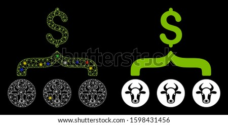 Bright mesh cows result dollar icon with sparkle effect. Abstract illuminated model of cows result dollar. Shiny wire frame triangular mesh cows result dollar icon.