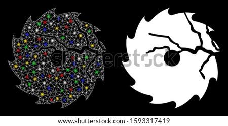 Bright mesh damaged circular saw icon with glare effect. Abstract illuminated model of damaged circular saw. Shiny wire frame triangular mesh damaged circular saw icon.