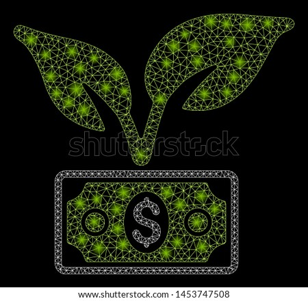 Bright mesh eco startup gain with glow effect. Abstract illuminated model of eco startup gain icon. Shiny wire frame triangular mesh eco startup gain. Vector abstraction on a black background.