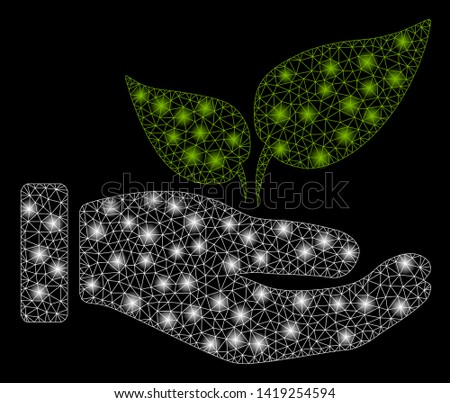 Bright mesh eco startup hand with glow effect. Abstract illuminated model of eco startup hand icon. Shiny wire frame polygonal mesh eco startup hand. Vector abstraction on a black background.