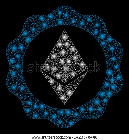 Bright mesh Ethereum badge seal with glare effect. Abstract illuminated model of Ethereum badge seal icon. Shiny wire carcass triangular network Ethereum badge seal.